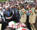 Begrafenis Al Hindi - De Palestijnse president Abbas eert het brein van het bloedbad op de Olympische Spelen van 1972. Niet interessant voor de NRC.