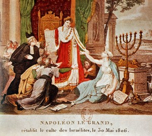 An 1806 French print depicts Napoleon Bonaparte emancipating the Jews.