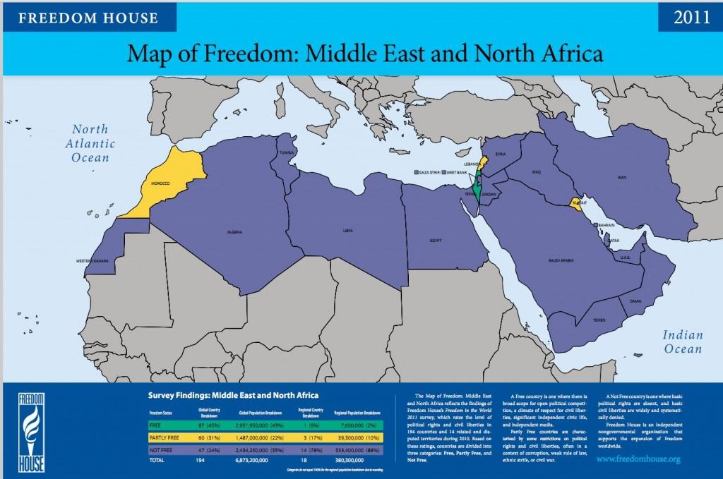 Vrijheid is schaars in het Midden-Oosten