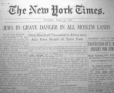 De New York Times meldt in 1948 anti-Joodse maatregelen in alle Arabische landen.