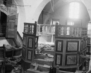 De verwoeste synagoge van Hebron