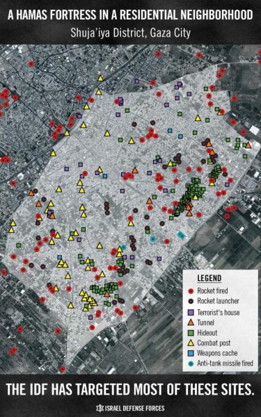 Plattegrond van Shujaja, een woonwijk die Hamas gebruikte was als militaire basis.