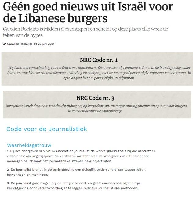 NRC journalistieke code
