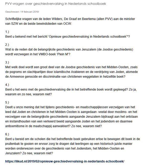PVV kamervragen schoolboek Noordhoff